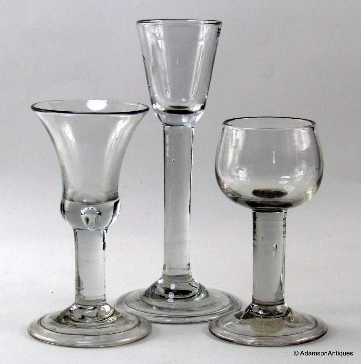 Adamson antiques irish plain stem cordial - Thick stemmed wine glasses ...