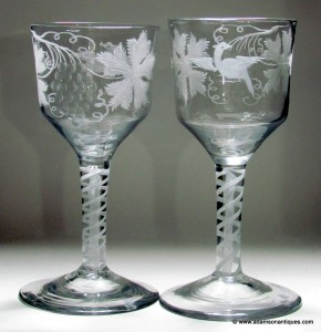 Georgian Opaque Twist Goblets C 1770
