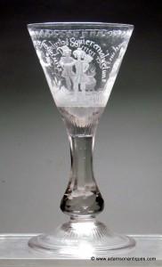 """Rare """"Four Seasons"""" Goblet C 1760/70"""