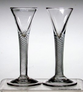 """Rare"" pair of Airtwist Cordial Glasses C 1750"