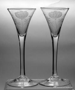 Jacobite Engraved Plain Stem Wine Glasses C 1750/55