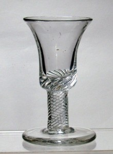 A Rare Air Twist Firing Glass c1750