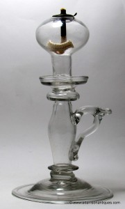 Tall Georgian Open Flame Oil Lamp C 1750