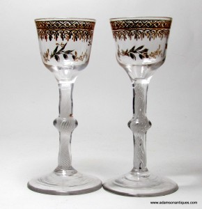 "Rare pair of ""James Giles"" Wine Glasses. C 1765/70"