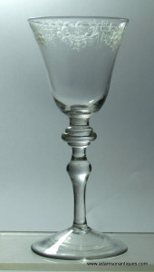Engraved Light Baluster Wine Goblet C 1735/40