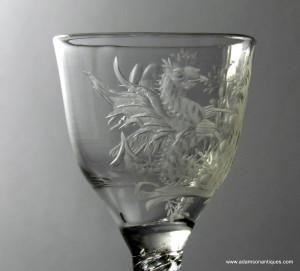 Rare Engraved Air Twist Wine Glass C 1750/55