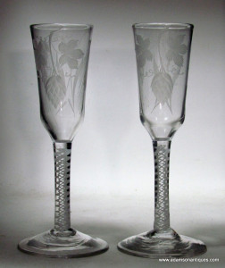 Pair of Opaque twist Ale glasses C 1760/65