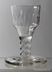 Terraced Foot Opaque Twist Dram Glass C 1765