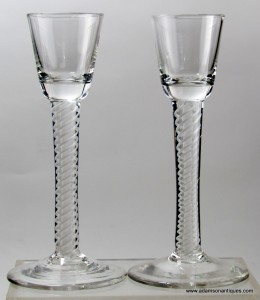 "Pair of ""Irish"" Type Cordial Glasses C 1760/65"