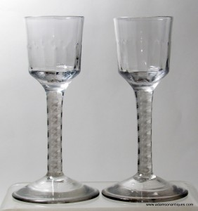 Pair of Opaque Twist Wine Glasses C 1760/65