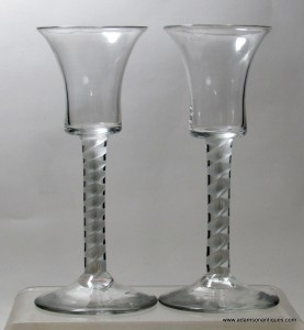 Pair of Bucket Bowl Opaque Twist Wine Glasses C 1760/65