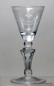 Engraved Pedestal Stem Wine Glass C 1740/45