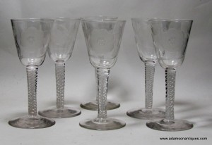 Six Jacobite Wine Glasses C 1800/1820