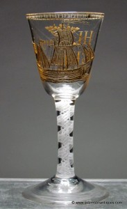 Dated engraved and gilded DSOT wine glass C 1782