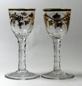 Superb Pair of Giles decorated Wine Glasses C 1770/75