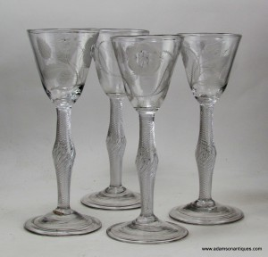 Four Jacobite Air twist Wine Glasses 1740/45