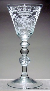 Dutch Engraved Light Baluster Goblet C 1747